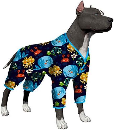 LovinPet Pijamas para perros grandes / Jersey elástico estampado de punto con estampados de la familia marina / Pijamas ligeros para mascotas / Pijamas para perros de cobertura completa Mono para perros grandes 2