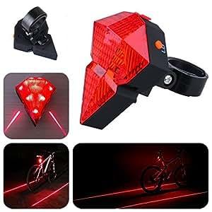 WFR® Bike USB Rechargeable Rear Light Bicycle Diamond 9 LEDs 2 Laser Beam Tail Light