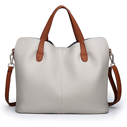 Fashion Women Bag Handle Shoulder Color Travel Gray Top Crossbody Pure red Messenger Leather Zipper nR1nHxfr
