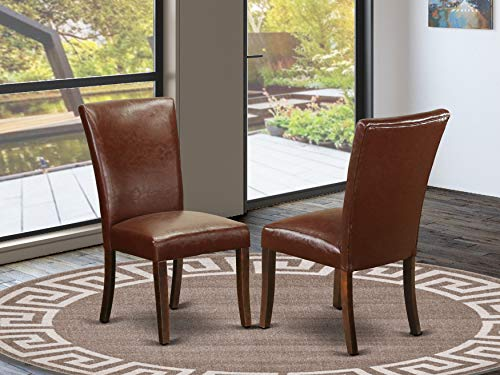 East West Furniture ALP3B66 Upholstered Dining Chairs – Luxurious 16-Brown Pu Leather, Solid Wood Mahogany Finish Legs Modern Parson Chairs – Set of two