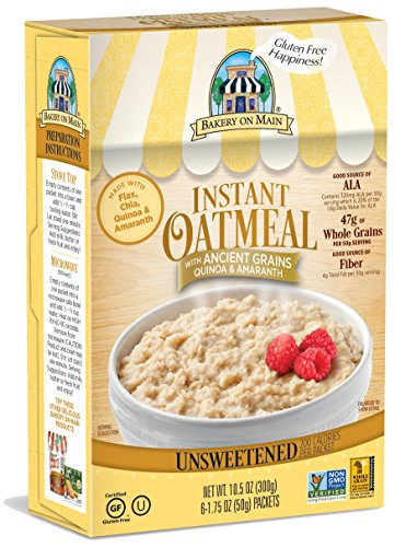 Bakery On Main Gluten-Free, Non-GMO Ancient Grains Instant Oatmeal, Traditional Unsweetened, 10.5 Ounce/6 Count Box (Pack of (Bakery Oatmeal)