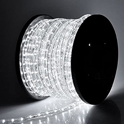 Cool White 150Ft 2-Wires Flexible 1620 Bulbs LED Rope Lights w/ Power Cords Connectors 110V for Indoor Outdoor Home Lighting Holiday Christmas Party Restaurant Café Decoration