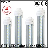 4-Pack of 40W R17D T12 8ft LED Tube,8' F96T12/CW/HO LED Fluorescent Tube Replacement,120V-277V Input,4000LM Super Bright Clear Lens(4-Pack Cool White)