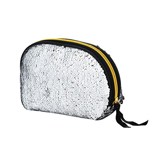 Women Wallet Bag Color Cluthes Double Women for Lavany Bag Zipper Sequins Black Handbag wq0pWXP