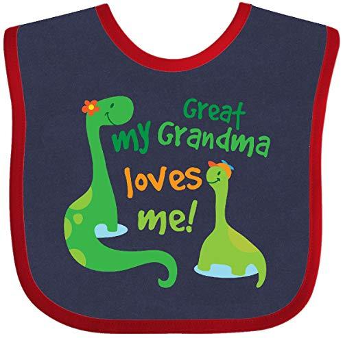 (Inktastic - My Great Grandma Loves Me Baby Bib Navy and Red 2059d)