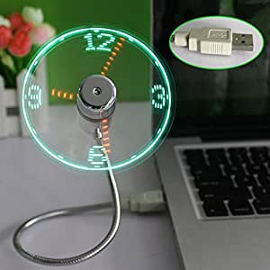 xlpace LED USB Fan Clock Mini Flexible Time with LED Light - Cool Gadget