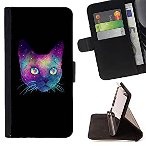 Super Marley Shop - Leather Foilo Wallet Cover Case with Magnetic Closure FOR Apple iPhone 5 5S- Space Cat Cute