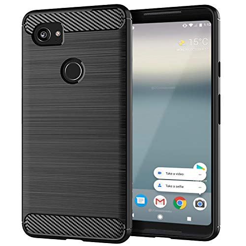 Egalo Google Pixel 2 XL Case,Slim Thin [Anti-Fingerprint] TPU Shock Absorption Carbon Fiber Pattern Flexible Soft Skin Silicone Protective Case Cover for Google Pixel 2 XL (Black)