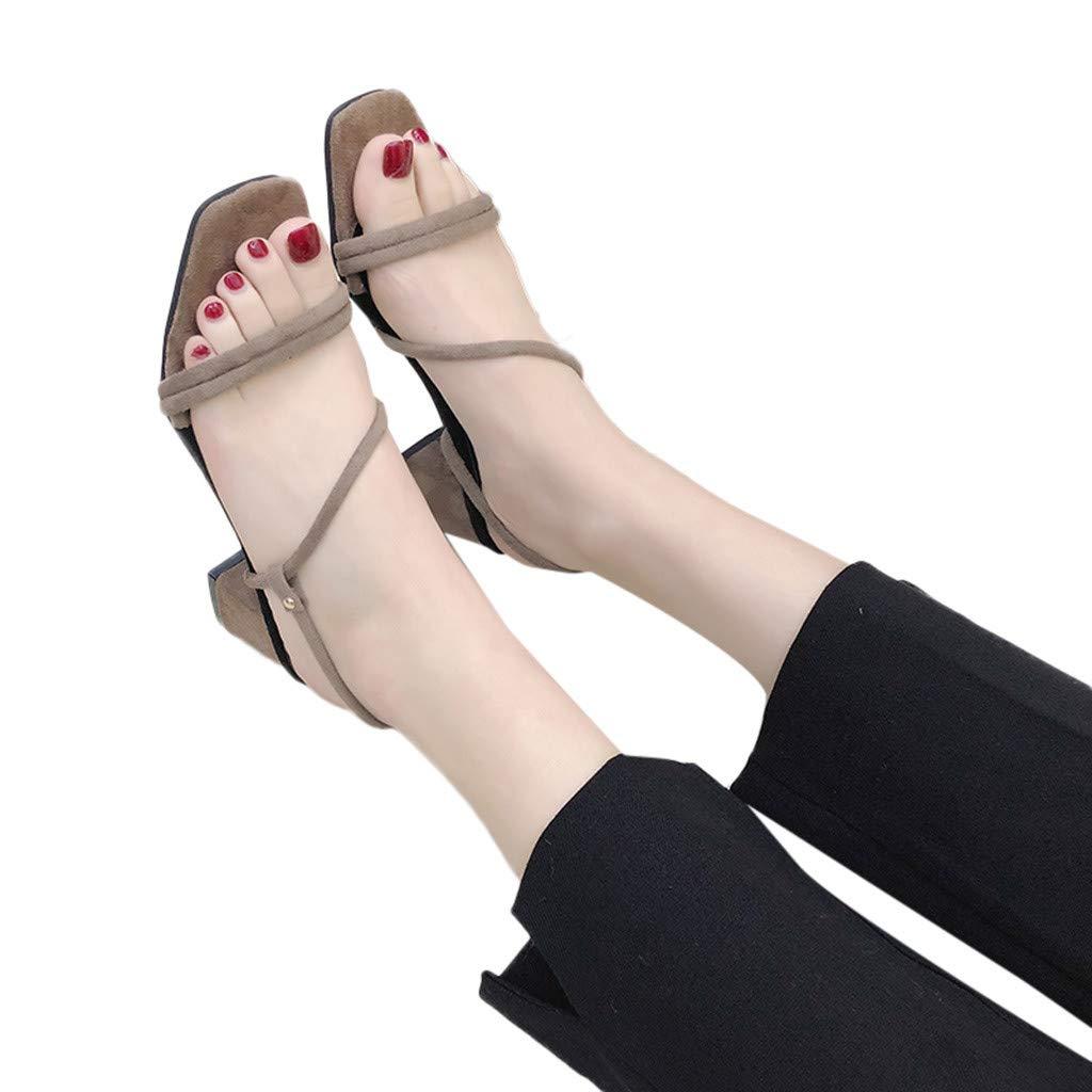 Kiminana ❤️ Women Open Toe Breathable Beach Elastic Band Sandals Casual Square Heels Shoes