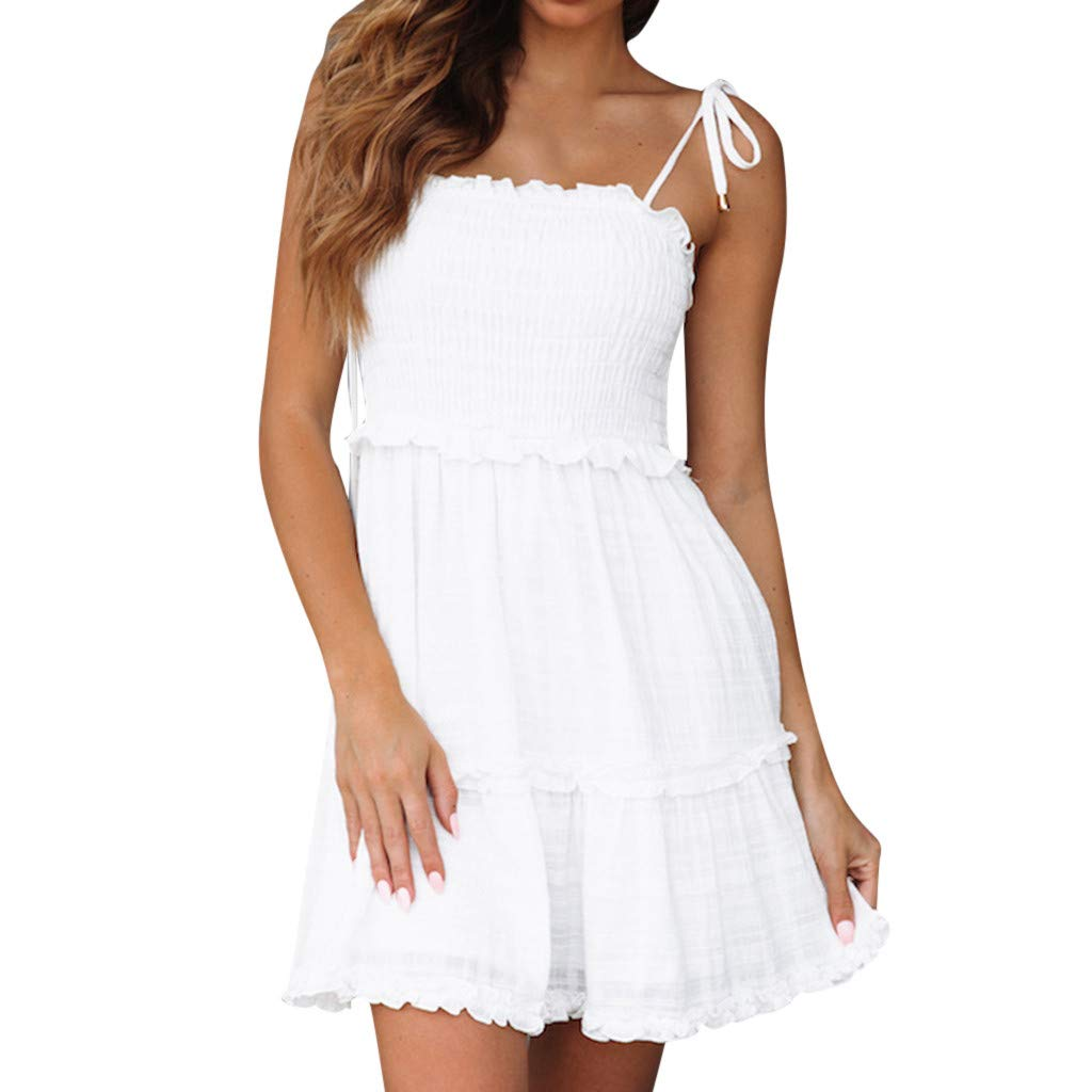 NRUTUP Women Casual Solid Above Knee Dress Sleeveless Loose Party Spaghetti Straps Little Cocktail Party Dress(White,L)