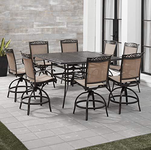 Hanover FNTDN9PCBRSQ Fontana 9-Piece Counter-Height Dining Set Outdoor Furniture, Tan Counter Height Nine Piece