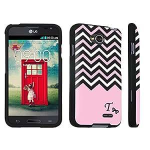 DuroCase ? LG Optimus L70 / LG Optimus Exceed 2 Hard Case Black - (Black Pink White Chevron T) by lolosakes