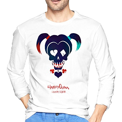 White Men' Funny Design Cool Long Sleeved Tee-shirts Suicide Squad Harley Quinn (Kids Harley Quinn Mallet)