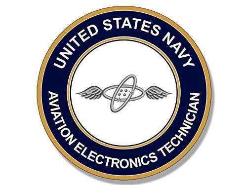 Round US Navy AVIATION ELECTRONICS TECHNICIAN Logo Sticker (aet - Accessories Aviation Electronics