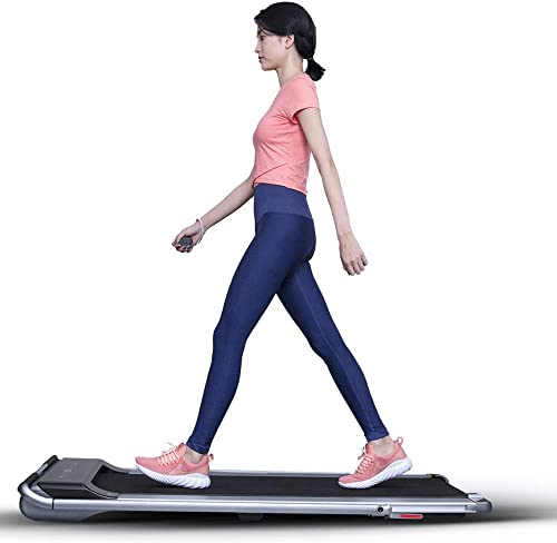 RHYTHM FUN Treadmill Under Desk Treadmill 2-in-1 Folding Running Walking Treadmill with Foldable Handtrail and Speed Sensor Light Slim Mini Quiet Treadmill with Smart Remote Workout App forHome Office