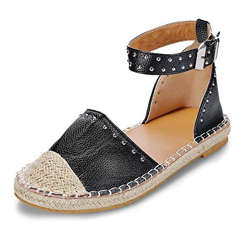 KCatsy Round Toe Rivet Grass Weaving Flat Shoes Fisherman Sandal for Women Black (Cape Socken)
