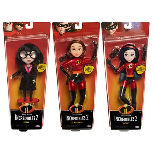 Incredibles 2 Costumed Dolls Wave 1 set of 3 Elastigirl, Violet, and Edna E. -