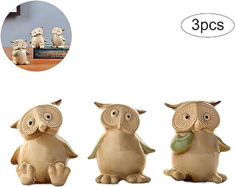 3pcs Adorable Owl Figurines Decorative Originality Home Decoration Furnishing Animal Ornament Ceramics Tabletop Ceramic Owlet Statue Sculpture Home Decor Mimbarschool Com Ng