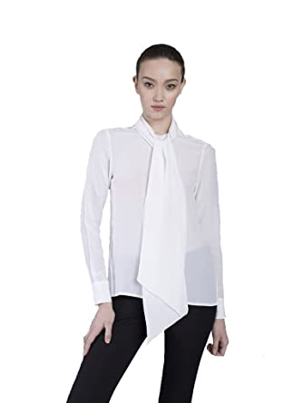 9a89b10471a462 VAUGHAN The Cassie Pussy Bow Blouse - Pure White at Amazon Women's Clothing  store: