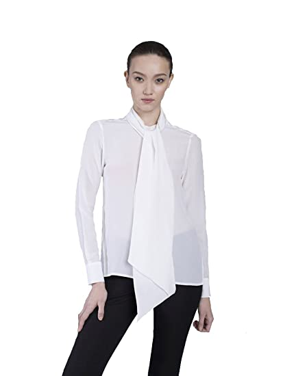 Vaughan The Cassie Pussy Bow Blouse Pure White At Amazon Women S