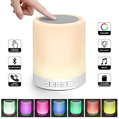 Night Light Bluetooth Speaker WAWOOW Bedside Lamp Portable Wireless Touch Lamp Speaker Dimmable Color Table Lamp With TF Card,Hands-free,MP3 Player Best Gift for Kids Wommen Children Sleeping Aid