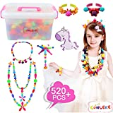 Conleke Pop Snap Beads Set 520Pcs for Kids Toddlers- DIY Bead Toys Made Jewelry Necklaces Bracelets Rings Crafts- Ideal Christmas Birthday Gifts for Girls (500pcs)