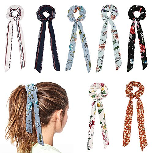 Jaciya 7 Pcs Hair Scrunchies for Hair, Chiffon Bow Scrunchies Elastic Hair Bands Scrunchy Hair Ties Ropes Scrunchie for Women or Girls Hair Accessories - 7 Assorted Colors Scrunchies]()