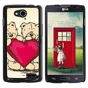 TECHCASE**Cubierta de la caja de protección la piel dura para el ** LG OPTIMUS L90 / D415 ** Heart Teddy Bear Love Couple Romance Art
