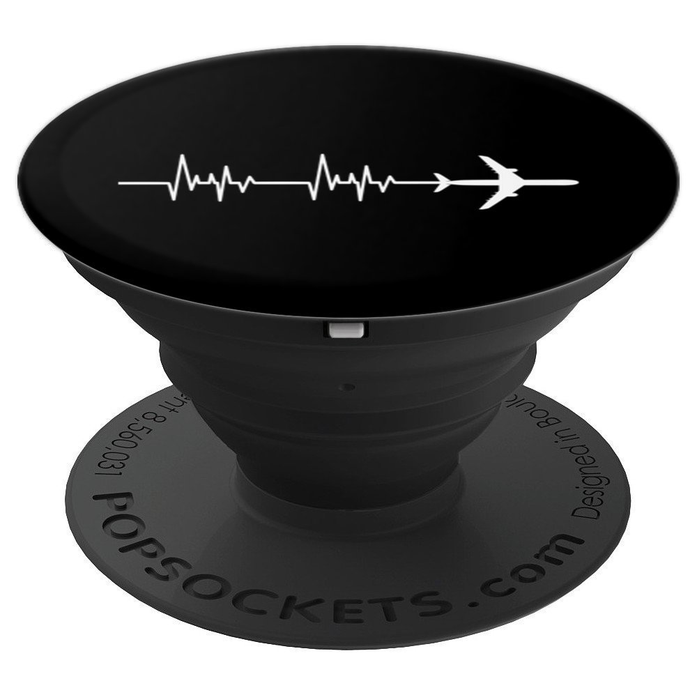 Heartbeat World Travel Airplane Pilot - PopSockets Grip and Stand for Phones and Tablets