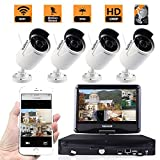 ZY Wifi Wireless Network/IP Security Camera System Video Surveillance CCTV NVR Kits with 4PCS Waterproof Bullet IP Camera with 10'' inch LCD Screen Display Monitor (With 2TB HDD) (1080P)