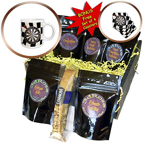 3dRose Beverly Turner Sport Design - Image of Dart Board with Dart in Bulls Eye, Black, Red, and Green - Coffee Gift Baskets - Coffee Gift Basket (cgb_304937_1)