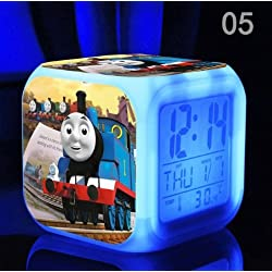 The Thomas Train and His Lovely Friends Digital Alarm Desktop Clock with 7 Changing LED Clock Cute Gift for Kids (Style 5)