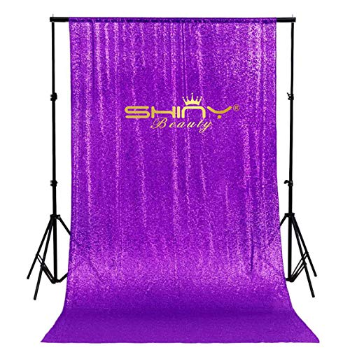 ShinyBeauty 5FTX9FT Purple Sequin Backdrop,Sequin Fabric Phtotgraphy Backdrop For Wedding Decoration ()