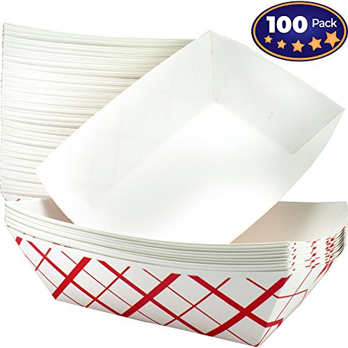 Heavy Duty, Grease Resistant 3 Lb Paper Food Trays 100 Pack. Durable, Coated Paperboard Basket Ideal for Festival, Carnival and Concession Stand Treats Like Hot Dogs, Ice Cream, Popcorn and Nachos.