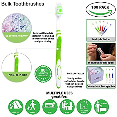 100 Bulk Toothbrushes Individually Wrapped-Manual Disposable Travel Toothbrush Set for Adults or Kids, Large Head, Medium Soft, Multi-Color, Individually Packaged Tooth Brush. Travel Toiletries.