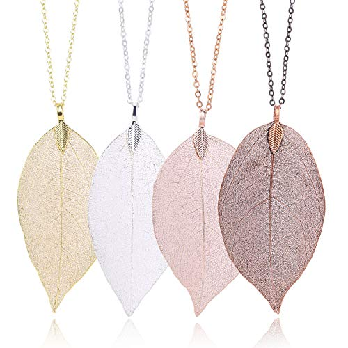 (4 Color Leaf Long Pendant Necklace Handmade Trendy Filigree Bohemian Jewelry for Women Girls )
