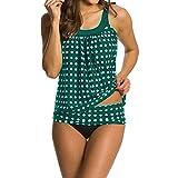 SUNNOW Womens Retro Ploka Dot Tankini Two Piece Swimsuit