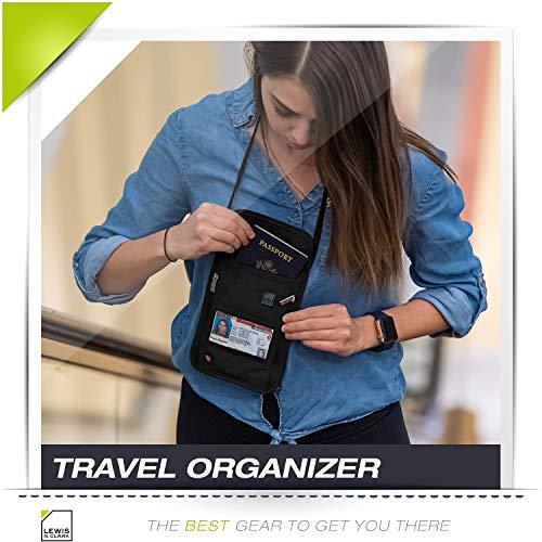 51ZsmQ80AXL - Lewis N. Clark RFID Blocking Stash Neck Wallet, Travel Pouch + Passport Holder for Women & Men, Black