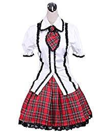 antaina White Cotton Bow Tie Lace Lolita Blouse and Red Plaid Pleated Skirt