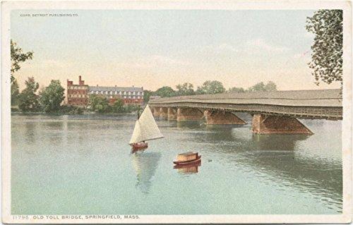 (Historic Pictoric Postcard Print | Old Toll Bridge, Springfield, Mass, 1907 | Vintage Fine)