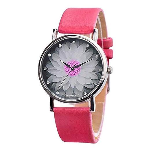 ... de Cuero Simple Reloj de Pulsera analógico de aleación Puntero Informal Relojes de Moda para niñas Adolescentes (Rosa Caliente): Amazon.es: Relojes