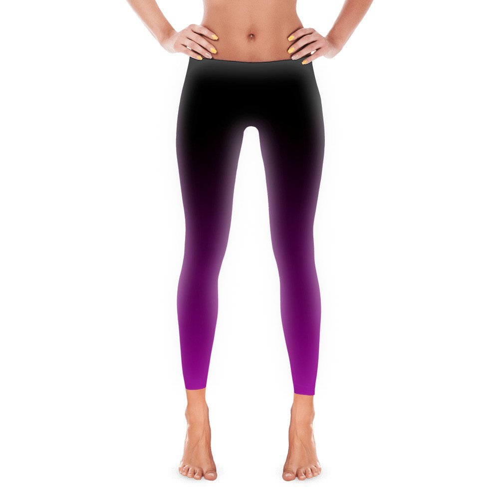 Black and Purple Ombre Gradient Leggings