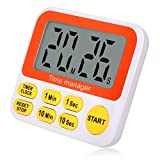 Wimaha Digital Kitchen Timer with Clock, Cooking Timer with Lound Alarm, Magnetic Backside, Big Digits, Quicker Set Countdown Timer Stand Bracket For Kitchen, Homework, Exercise, Game