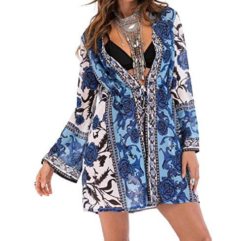 Open Elegante Costume Solare Pittura Chiffon Cardigan Protezione front Avvolgente donne Bagno Da Blu Coolred qSfwgg