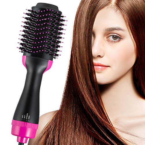Hot Air Brush Volumizer Hair Dryer Curly Hair Comb One Step Ceramic Hot Air Brush 2-in-1 Infrared Negative Iron Hot Air Combing Curly Straight Dual-use Hair Dryer Styling Comb Black Pink