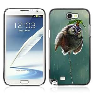 CaseCaptain Carcasa Funda Case - Samsung Galaxy Note 2 II / Cute Mouse & Owl /