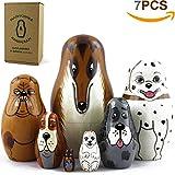 MATRYOSHKA&HANDICRAFT Dog Nesting Dolls - Toy Dog Lover Gifts - 7 Dog Figurines - Dog Kids Figure Doll
