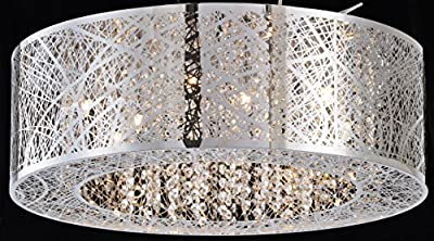 "Bird Nest Flush Mount Pendant Chandelier Lamp Drum Inca Laser Cut Shade Crystal Inside Dia 20"" H 9"""