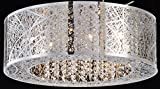 Bird Nest Flush Mount Pendant Chandelier Lamp Drum Inca Laser Cut Shade Crystal Inside Dia 20″ H 9″