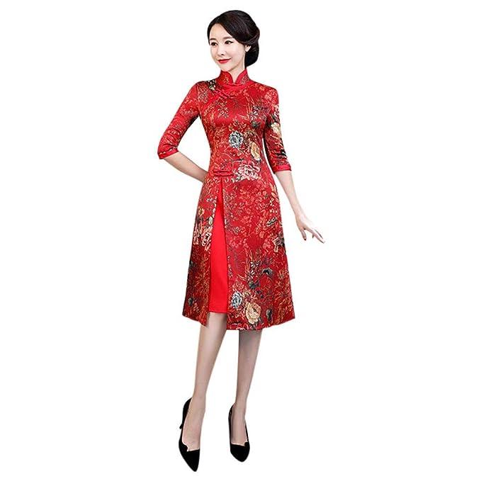 Meijunter Cheongsam Chino Qipao de Mujer - Floral Elegante Vintage Satén Vestido de Noche de Estilo Oriental